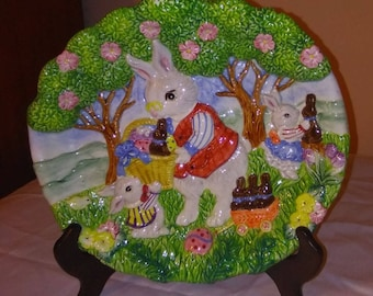 Fitz and Floyd Easter Bunny Springtime Canape Plate