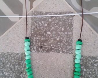 Handmade beaded necklace - Modern necklace - Boho necklace - Green Statement necklace - Minimalist necklace - Polymer clay jewelry