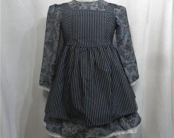 Vintage Dress Pinafore 80s 1980s Girls True Gunne Sax Jeunes Filles Victorian Style Stripes Black Gray 2 Piece Gothic