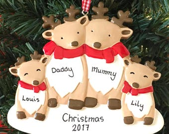 Personalised Christmas Tree Decoration - Reindeer Family of 3, 4 or 5