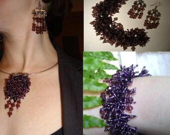 Purple cloud complete jewelry set