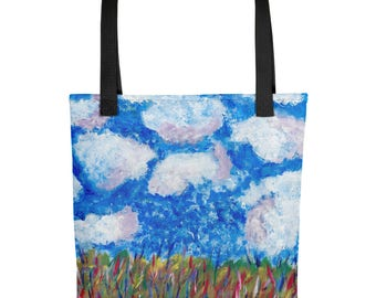 Blue Sky - Amazingly beautiful full color tote bag with black handle featuring children's donated artwork.
