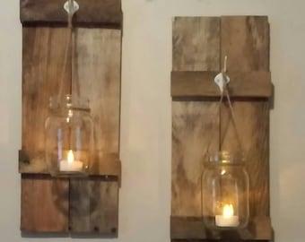 Reclaimed wood and Mason Jar Sconces
