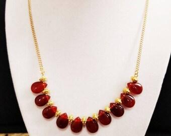 Carnelian Choker Necklace Classy Girlfriend Gift, Valentines Gift