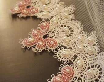 Blush Wedding Veil / Fingertip Veil Lace / Fingertip Bridal Veil / Blush Wedding Veils / Veils with Crystals and Pearls / Fingertip Veil