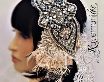 Gatsby Bridal Headband / Art Deco Wedding Hair Comb / Crystal Beaded Wedding Headband / Birdcage Veil / Gatsby Wedding Hair Comb