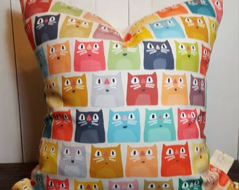 Cat Pillow, Handmade, Pillow Cover, Fun Pillow, Cute Pillow, Throw Pillow Multi Color Cats kittens  Decorative Pillow  Gift for Cat Lovers