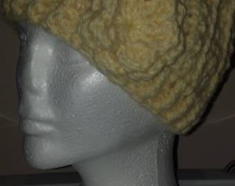 Crocheted Light Yellow With Flower Motif Beanie