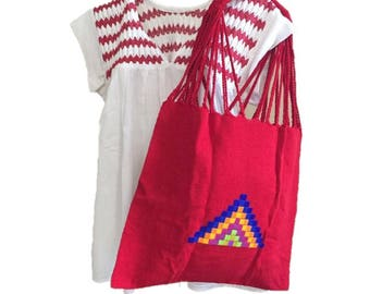 Tote bag, Handbag, Boho purse, Shoulder bag, Shopping bag, Embroidery Bag, Backloom bag, Mexican bag, gift, birthday gift, gifts for her