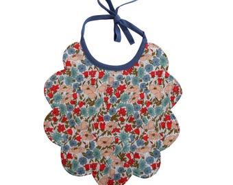 Bib shape flower Liberty Poppy and Daisy Blue and Red fleece