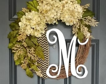 Cream Hydrangea Wreath,Hydrangea Wreath,Year Round Wreath,Front Door Wreath,Spring Wreath,Initial Wreath,Grapevine Wreath,Farmhouse Wreath