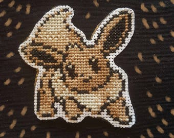 Eevee cross stitch patch