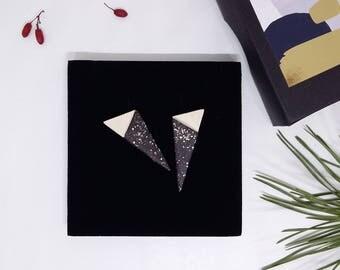 Triangle stud earrings, geometric ceramic earrings, triangle ceramic earrings, matted creramic earrings, ceramic earrings with silver posts