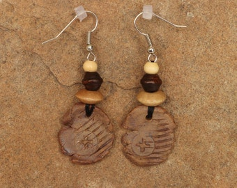 Stoneware Clay Textured Earrings with Wooden Beads.