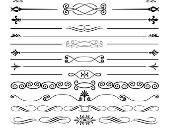 Text dividers SVG files for Silhouette Cameo and Cricut. Decorative Text dividers clipart PNG included. Swirl and Floral Ornaments