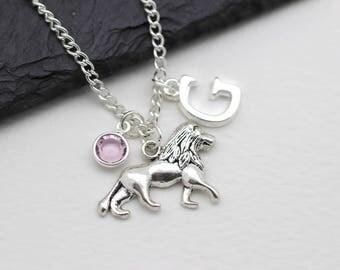 Personalised Lion Necklace, Lion Cub Gift, Simba Jewelry, Animal Safari Gift, Initital Necklace, Charm Necklace, Swarovski Crystal
