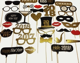 2018 New Year's Eve Photo Booth Props--32 pcs ALREADY ASSEMBLED!