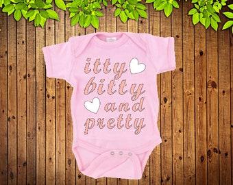 Baby onesie, Pink onesie, Itty Bitty and Pretty, baby girl oneise