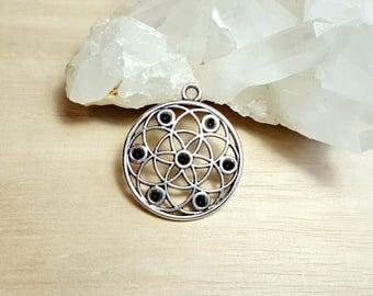 Seed of life Pendant Flower of life Mandala Sacred geometry Charm Antique Silver Yoga Necklace Circle Rhinestone Settings Flower Symbol