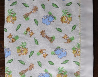 Safari / Jungle Animals and Polka Dots flannel blanket - OOAK