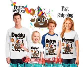 POOP Emoji Birthday BOY Theme Family WHITE Shirts For the Entire Family Mom Dad Brother and More T-shirts Long/ Short sleeve Raglan