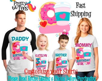 DONUTS Birthday Girl Theme Family WHITE Shirts For the Entire Family Mom Dad and More T-shirts Long/ Short sleeve Raglan DONUT Coffee