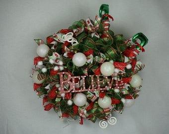 Believe Christmas Wreath for Front Door