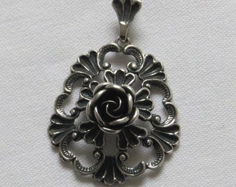 Vintage German 925 silver Teka rose pendant 1970s