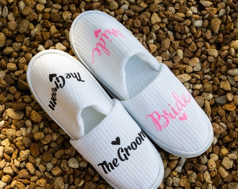 Bride Slippers - Personalized Bridal Slippers - Bride Slippers - Wedding Slippers - Bridesmaid Gifts - Bridal Shower Gift - Maid of Honor
