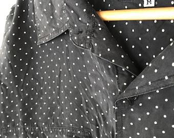 100% Silk Polkadot Party Shirt - Size M