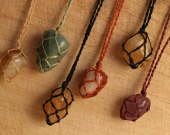 Necklaces, macrame necklace with stones from South America