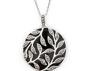 Florence Leaf Pendant | Onyx, Marcasite and Sterling Silver