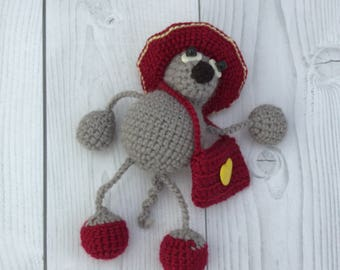 Beautiful gray mouse in hat - Crochet stuffed mouse toy - Tiny mouse with bag - Crochet little mouse in clothes - Crochet gray mouse