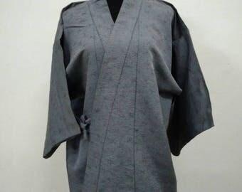 Japanese haori kimono gray floral kimono jacket /kimono cardigan/kimono robe/#034