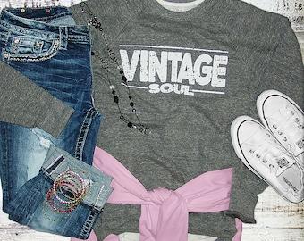 Vintage Soul//Sponge Fleece Crewneck Sweatshirt//Grey Triblend