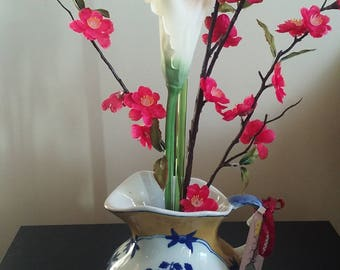 Blue and gold Ikebana pitcher.
