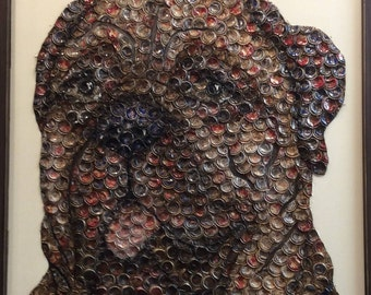 Dog Bottle Cap Art 'Buddie'
