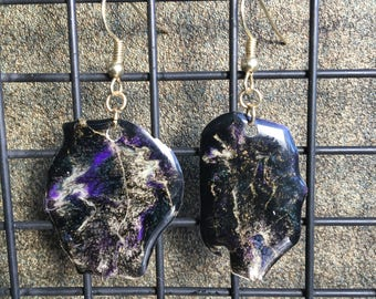 Sparkly Epoxy Earrings - Black, Purple, and Gold