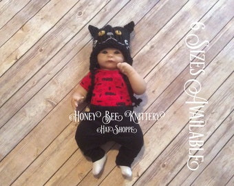 Black Cat Hat - 6 sizes available; Halloween, meow, superstitious, superstition, witch   ***READY TO SHIP***