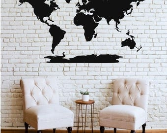 World map wall art etsy world map wall art 3d wall silhouette metal wall decor home office decoration bedroom living gumiabroncs Gallery