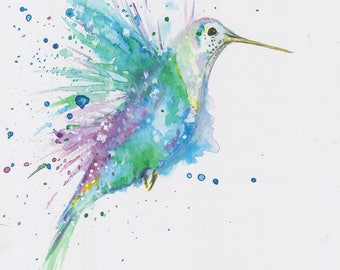 Print of Hummingbird Watercolour Wildlife Painting