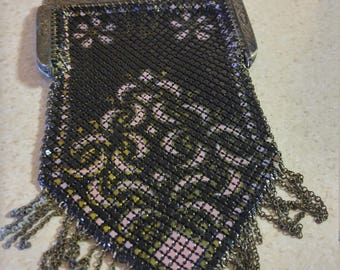 1920s art deco flapper mesh metal purse!