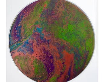 Original Abstract Painting - Acrylic fluid flow art (Round - Copper/Purple/Teal/Green)
