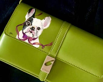 Dog Lover -Something small, vintage and utterly adorable Guess bag HANDPAINTED by Nanette Catigbe