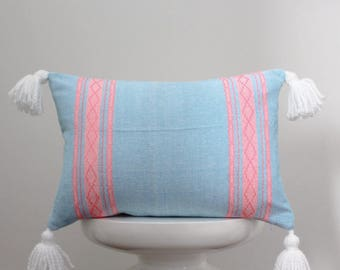 authentic Mexican handmade pillow cover blue and pink embroidered textile decorative throw pillow bohemian boho cushion cover