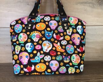 Lola Handbag, Purse, Mexican Joy fabric by Timeless Treasures, Faux Leather Handles, Sugar Skulls, Dogs and Cats, Day of the Dead