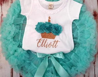 Aqua and Gold Glittery 3d Cupcake Birthday Pettiskirt Onesie and Skirt Set