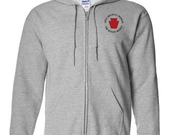 28th Infantry Division Embroidered Hooded Sweatshirt w/ Zipper-7424