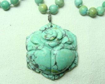 Vintage Chinese Carved Turquoise Necklace