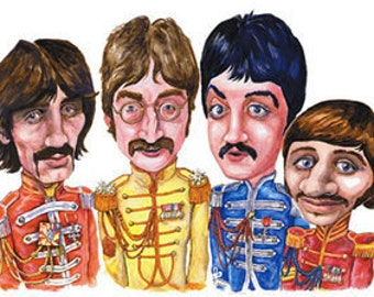 Sgt Pepper Caricature A3 print 600 pixels per inch resolution. Signed by the artist.